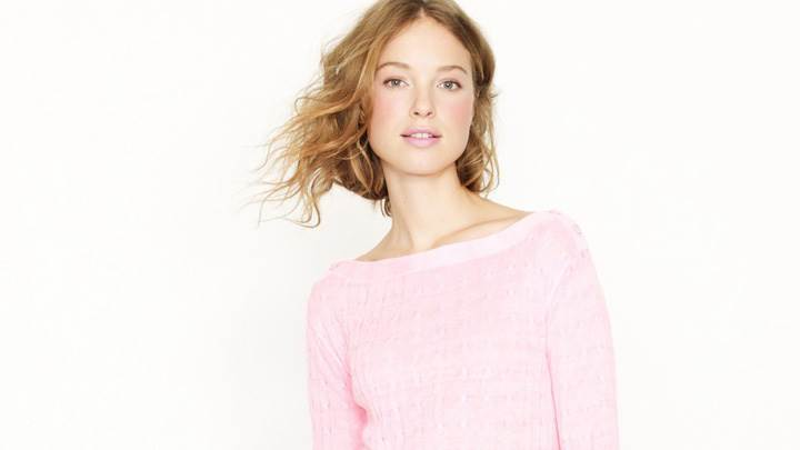 Heloise Guerin In Pink Top At JC Crew Photoshoot